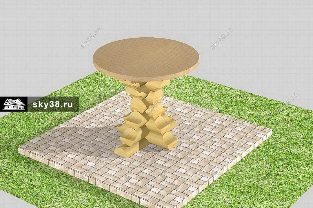 Круглый стол из бревен фото